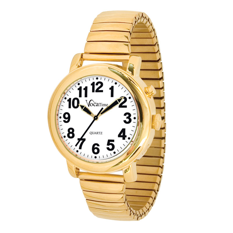 VocaTime Mens Gold Tone Talking Watch - Gold Tone Expansion Band