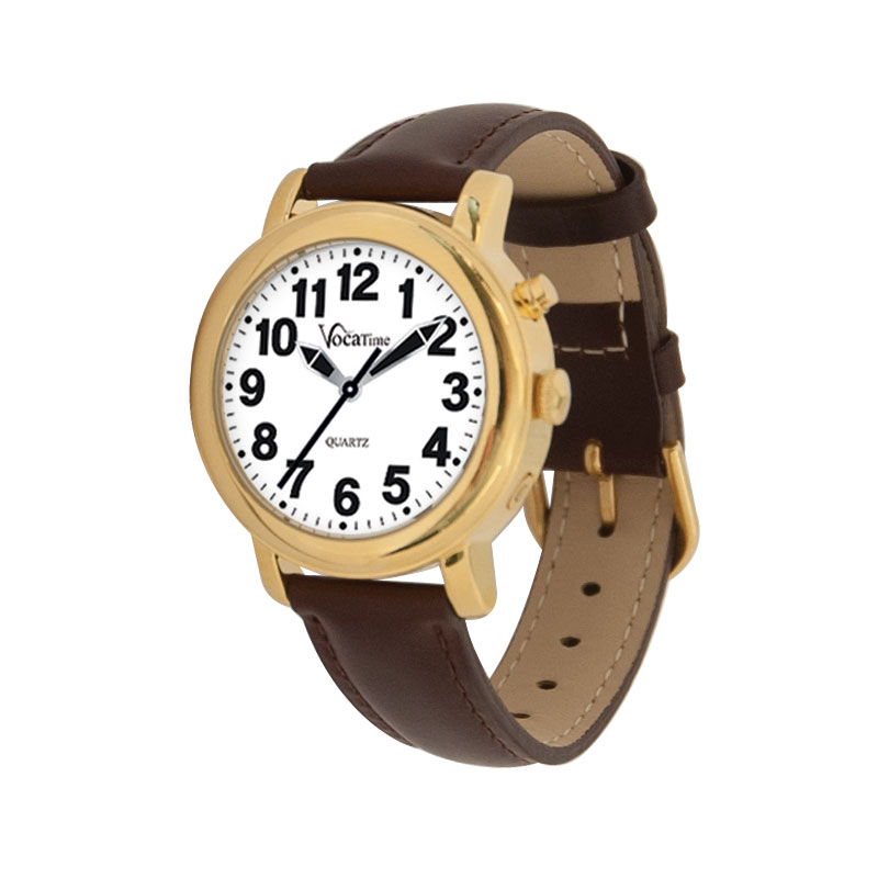 VocaTime Womens Gold Tone Talking Watch - Brown Leather Band