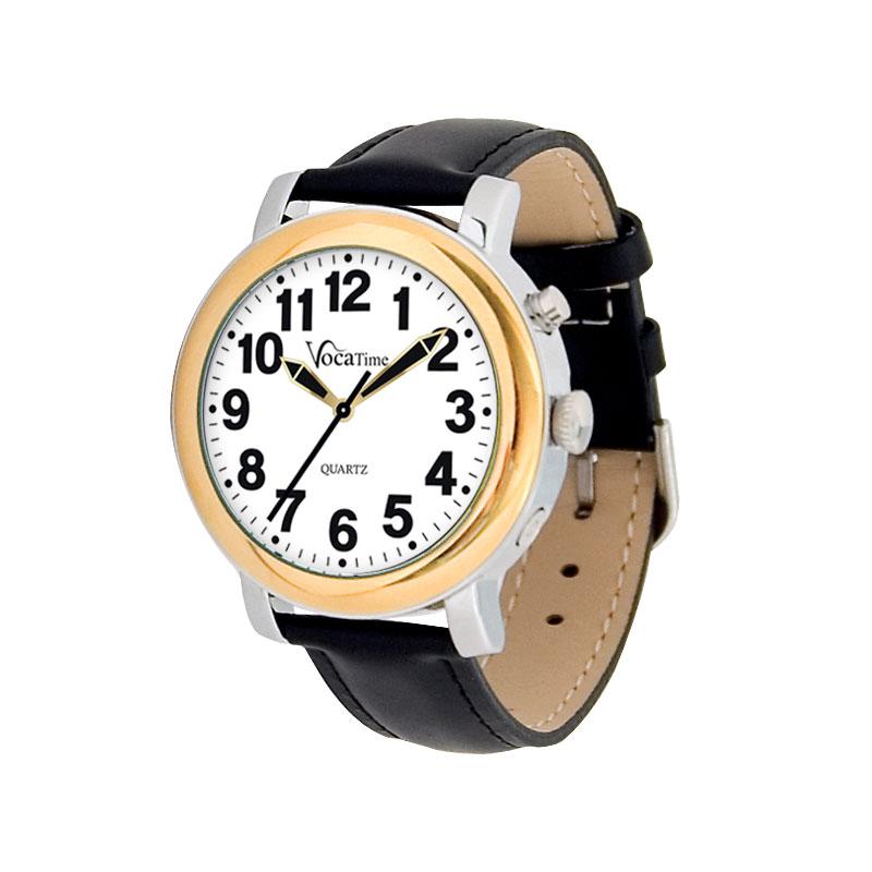 VocaTime Mens BI-COLOR Talking Watch - Black Leather Band
