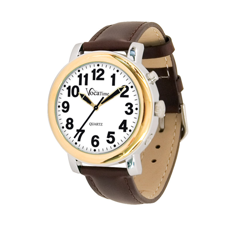 VocaTime Mens BI-COLOR Talking Watch - Brown Leather Band