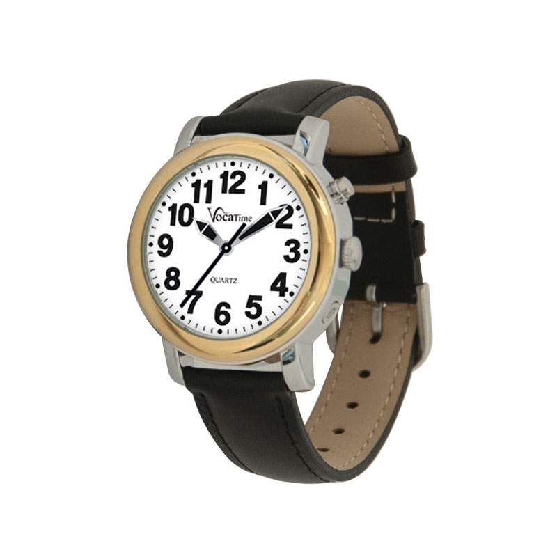 VocaTime Womens BI-COLOR Talking Watch - Black Leather Band
