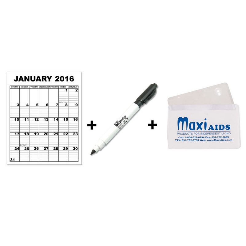 Giant Appointment Calendar 2016 + BoldWriter 20 Pen - MaxiAids Bundle