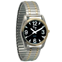 Mens Low Vision Watch- Black Face w-Exp Band